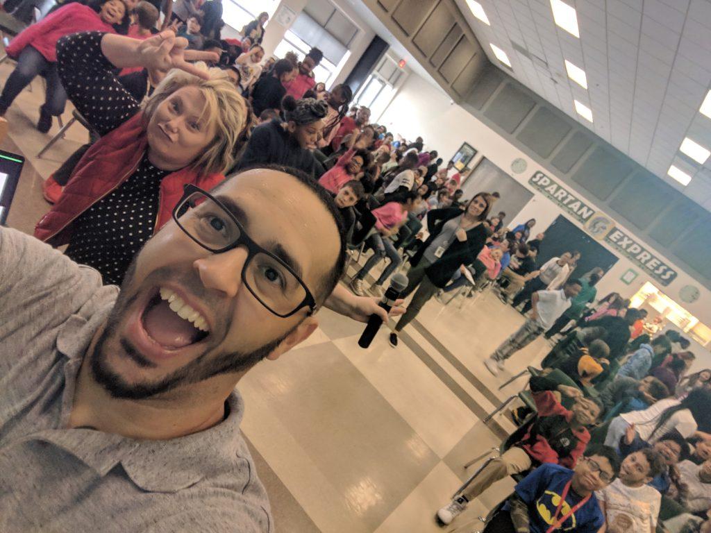 School Speaker Eddie's Group Selfie with South View Upper Elementary School and Principal Mary